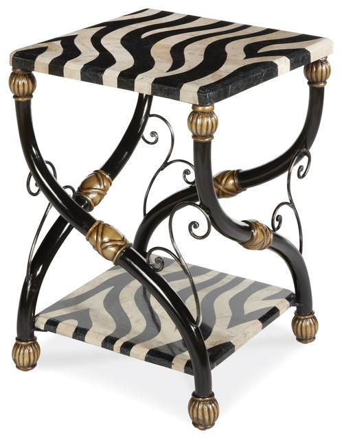 Discoveries Zebra Accent Table Traditional Side Tables And End Tables