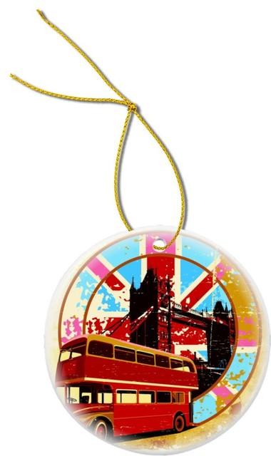 London Bus On Grunge Flag Design Round Porcelain Christmas Ornament