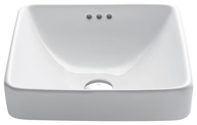 Ceramic Semi Recessed Bathroom Sink