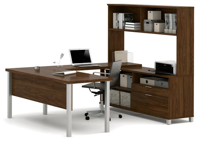 Modern U Shaped Office Desk With Hutch Oak Barrel
