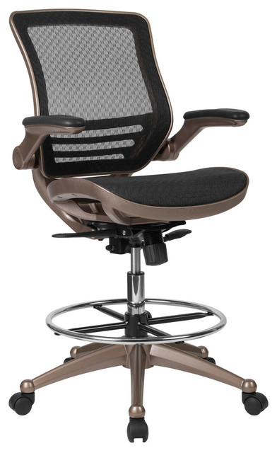 Mid Back Transparent Mesh Drafting Chair With Melrose Gold Frame, Flip Up  Arms