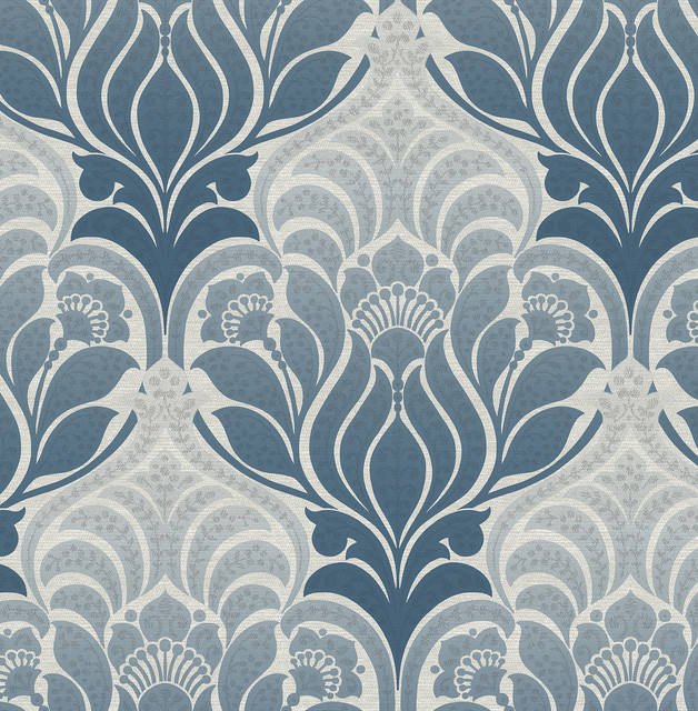 twill blue damask wallpaper swatch contemporary wallpaper - Contemporary Damask Wallpaper