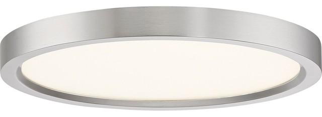 """Outskirt 11"""" 15W 1-LED Flush Mount, Brushed Nickel, White Acrylic Glass"""