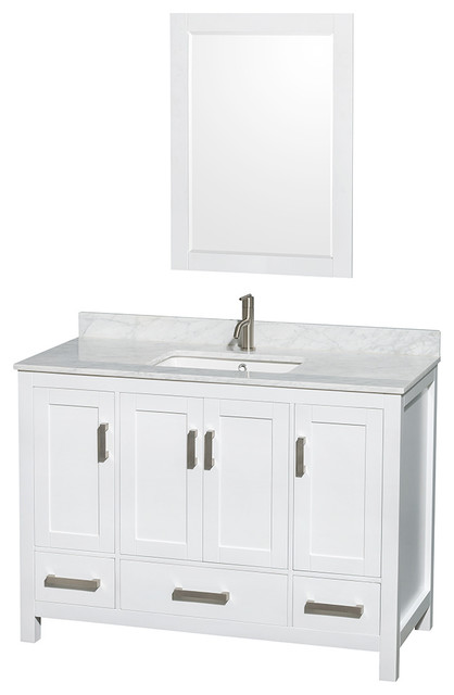 Sheffield 48 White Vanity, White Carrera Marble Top And Undermount Square Sink.
