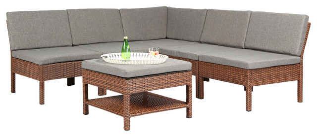 Spiaggia 6-Piece Sectional Sofa Set, Brown.