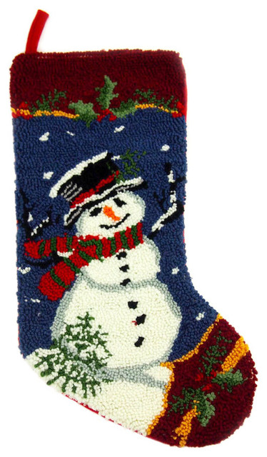 hooked christmas stocking with snowman blue - Modern Christmas Stockings