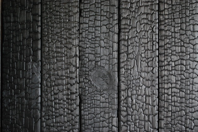 Shou-sugi-ban (burnt wood siding) asian