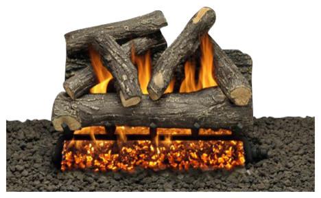 "18"" Granada Split Logs, Single Pilot Kit Burner Tube, Remote, Natural Gas"