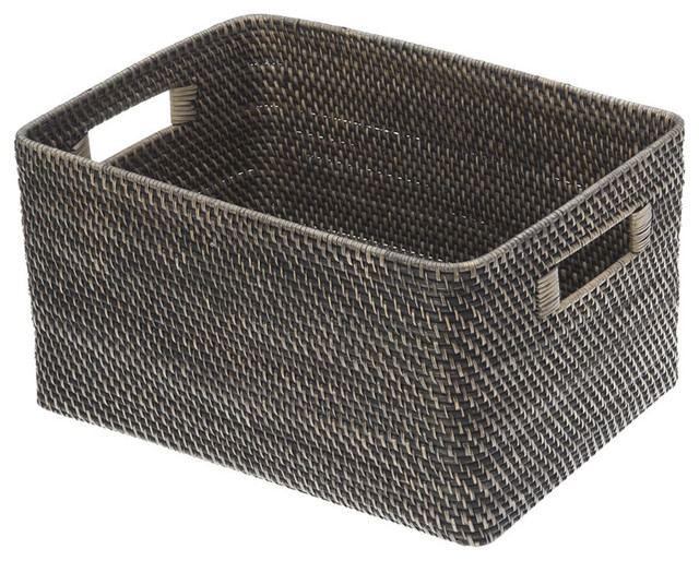 Superieur Black Antique Rattan Storage Basket, Large