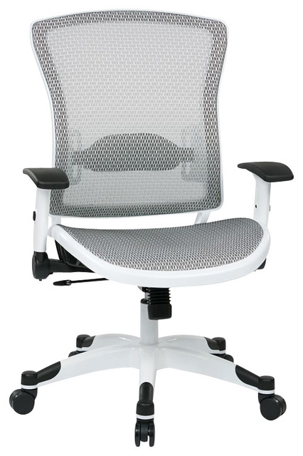 Office Star Pulsar Managers Chair With Padded Mesh Seat In White    Contemporary   Office Chairs   By Homesquare