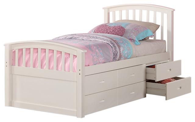 Brimly 6 Drawer Storage Bed Twin, White Twin Storage Bed Drawers