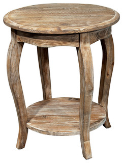 Wilson Rustic Reclaimed Wood Round End Table, Driftwood