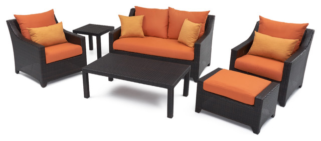 Deco 6-Piece Outdoor Love and Club Deep Seating Set by RST Brands, Orange