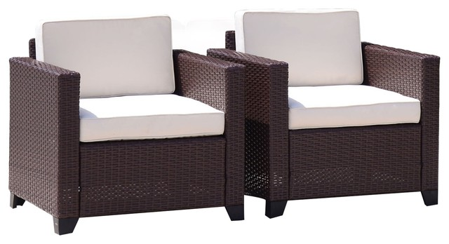 Patio Wicker Dining Sofa Garden Lounge Chairs, Cocoa Brown, Set Of 2.