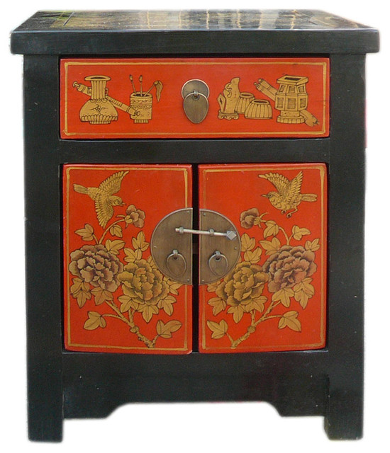 Chinese Black Red Golden End Table Nightstand Asian Nightstands And Bedside  Tables