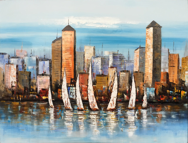"""afternoon Cityscape"" Hand Painted Oil Canvas Artwork; Modern Art; Fine Art."
