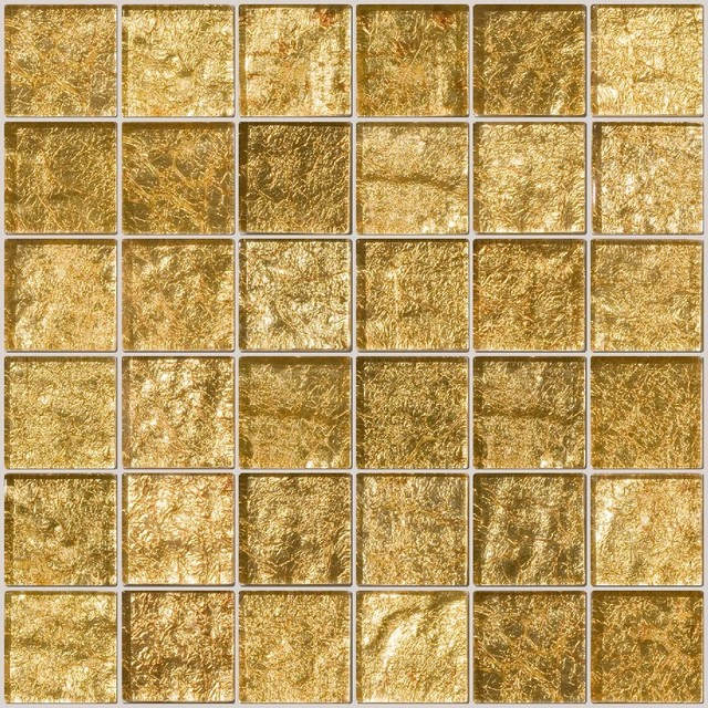 Gold Metallic Glass Tile Contemporary Mosaic By