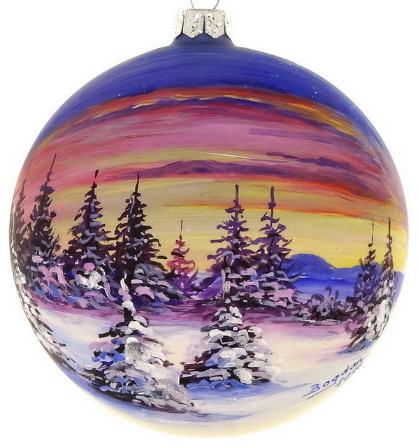 Handpainted Sunset Ornament 4 Rustic Christmas Ornaments By