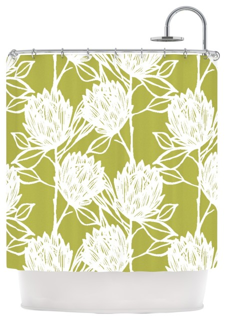 Shop Houzz Kess Inhouse Gill Eggleston Protea Olive White Green Flowers Shower Curtain