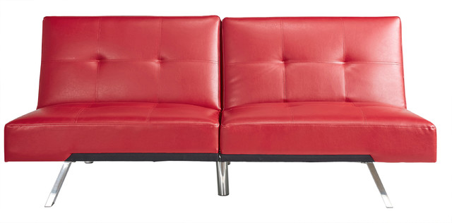 Abbyson Living Noelle Leather Convertible Sofa, Red