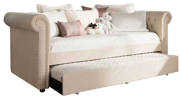 Mabelle Modern And Contemporary Trundle Daybed, Gray.