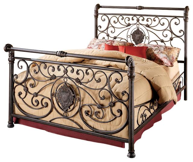 Hillsdale 1039Bkr Mercer King Size Bed Set With Rails Mediterranean Bedro