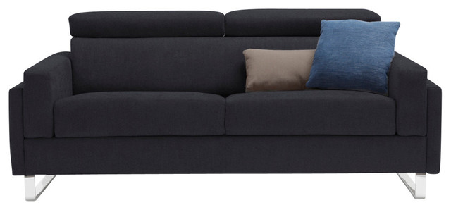 Firenze Modern Sofa Bed, Queen Size Mattress, Dark Gray
