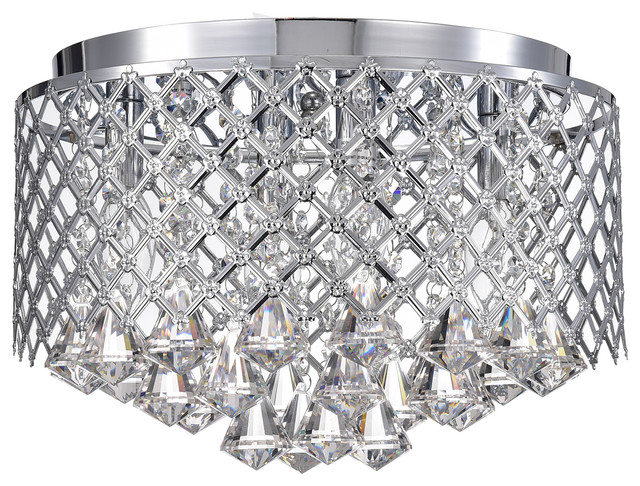4-Lights Chrome Lattice Crystal Flushmount Chandelier.