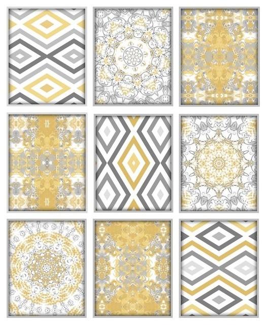 Abstract art prints mustard yellow and gray set of 9
