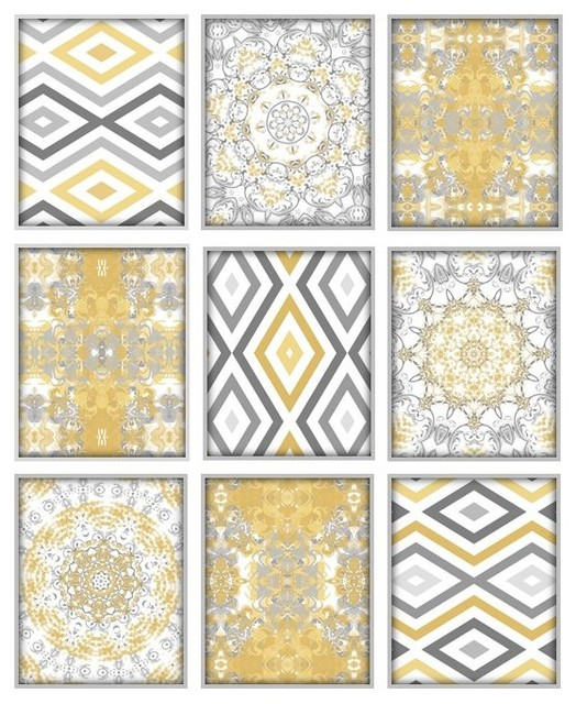 Wall Art Set Of 9 Prints In Mustard Yellow And Grey Contemporary Posters By Studio D K