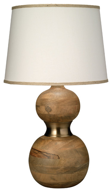 Bandeau Table Lamp, Natural Wood With Large Cone Shade Contemporary Table  Lamps