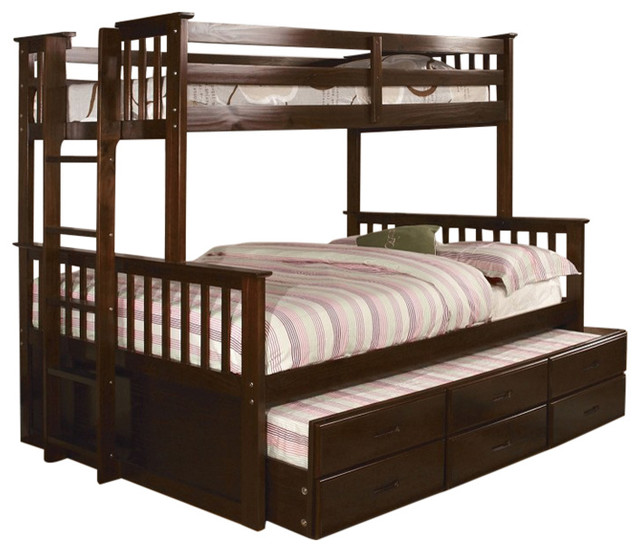 University Dark Walnut Twin Over Twin Size Bunk Bed Trundle and ...