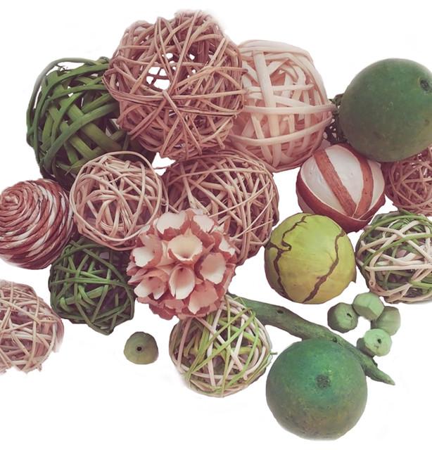 18 Piece Decorative Spheres Lime Green Rattan Vase Filler Assorted