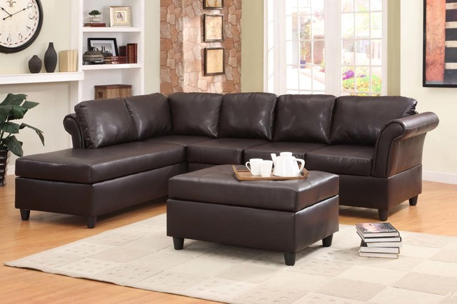 Homelegance modern dark brown leather leather sofa couch for Brown leather chaise end sofa