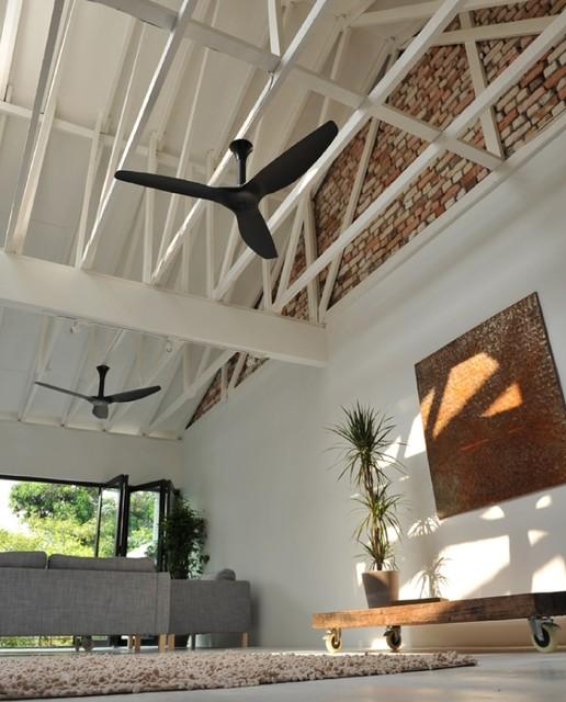 Haiku Black Ceiling Fan In The Living Room