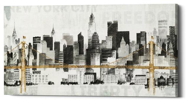 Epic Graffiti New York Skyline I Yellow Bridge by Avery Tillmon Giclee Canvas Wall Art 12 x 24 Whole