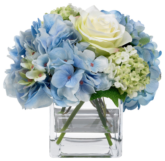 Flower arrangements with roses and hydrangeas my web value blooms by diane james blue hydrangea and rose bouquet traditional artificial flower arrangements mightylinksfo