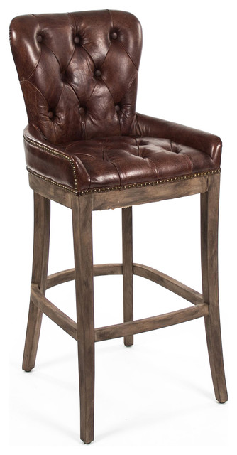 Ridley Rustic Lodge Tufted Leather Bar Stool Brown Stools