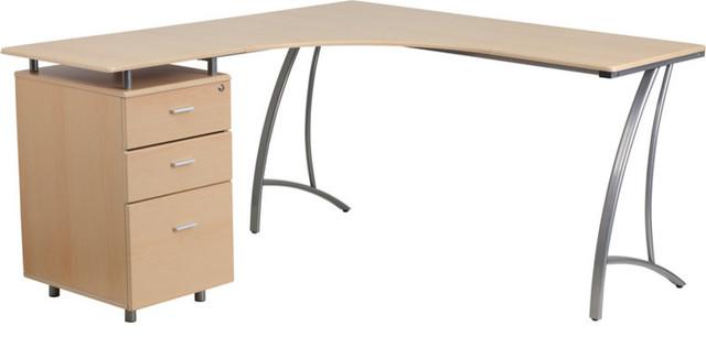 L Shape Desk With Three Drawer Pedestal Beechwood