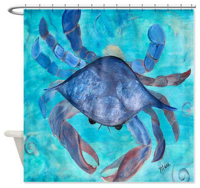Nice Blue Crab Shower Curtain Beach Style Shower Curtains