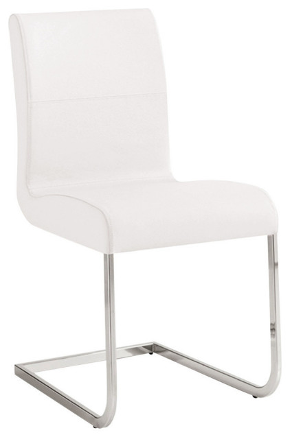 Casabianca Home Stella Italian White Leather Dining Chair