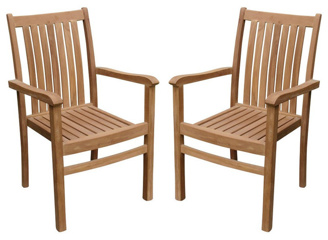 Super Cahyo Stacking Arm Chairs Teak Outdoor Dining Patio Set Of 2 Unemploymentrelief Wooden Chair Designs For Living Room Unemploymentrelieforg