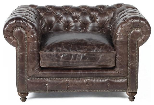 Incroyable Brown Leather Chair Nailhead Trim