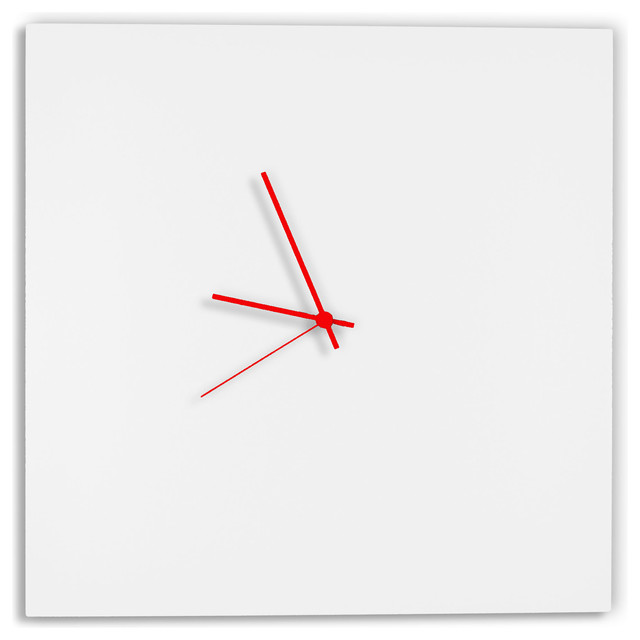 whiteout red square clock modern minimalist white wall clocks red hands modernwall