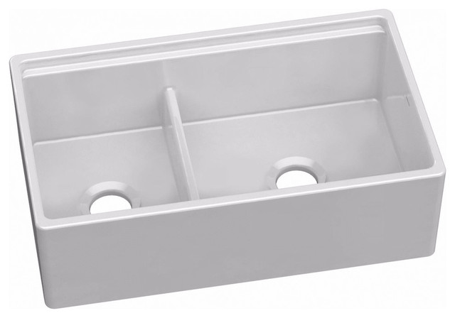 "Elkay Swuf3320 33"" Fireclay Farmhouse Sink, White."