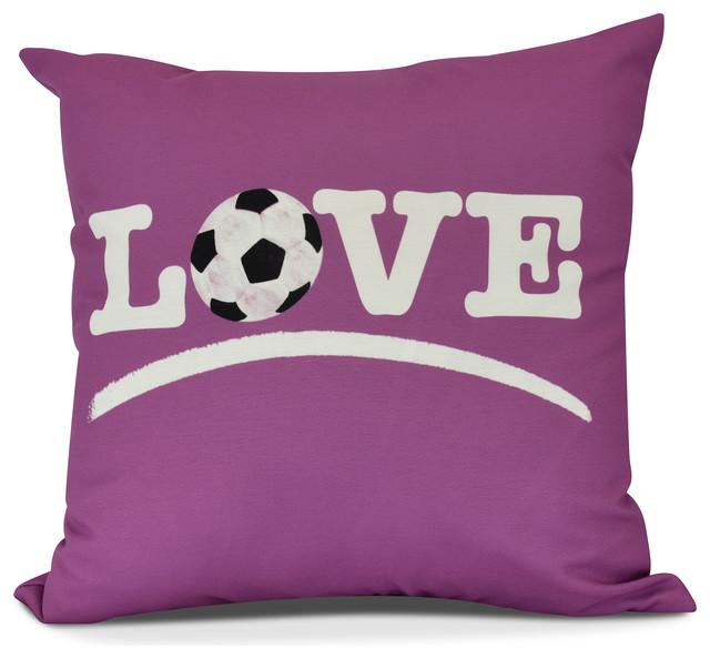 "Love Soccer, Word Print Pillow, Pink, 16"" X 16""."