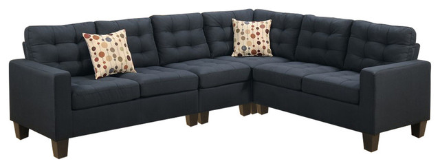 Polyfiber Fabric 4-Piece Sectional With 2 Pillows, Black.