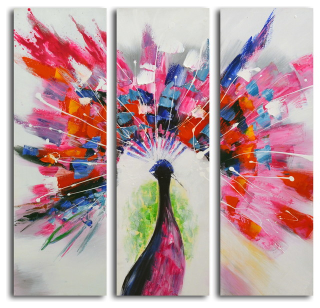 prismatic peacock hand painted 3 piece canvas set modern artwork