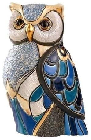 Blue Owl Ceramic Figurine.