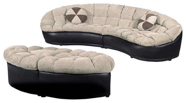 Attirant Papasan 4 Piece Crescent Sofa Set, Camel